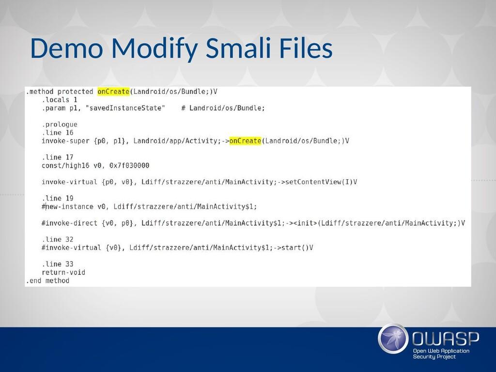 Demo Modify Smali Files