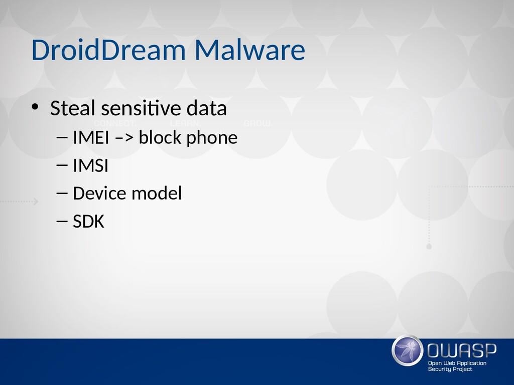DroidDream Malware • Steal sensitive data – IME...