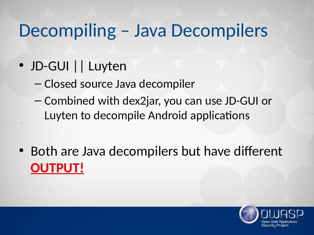 Decompiling – Java Decompilers • JD-GUI    Luyt...
