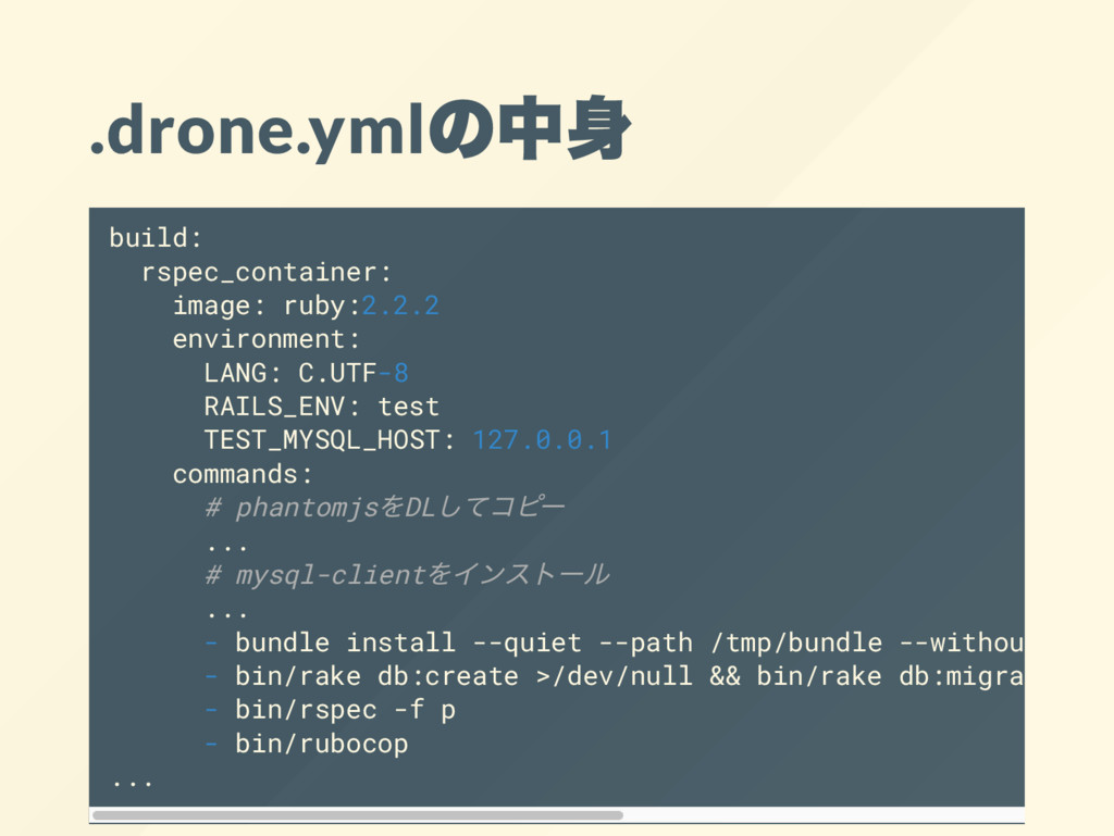 .drone.yml の中身 build: rspec_container: image: r...