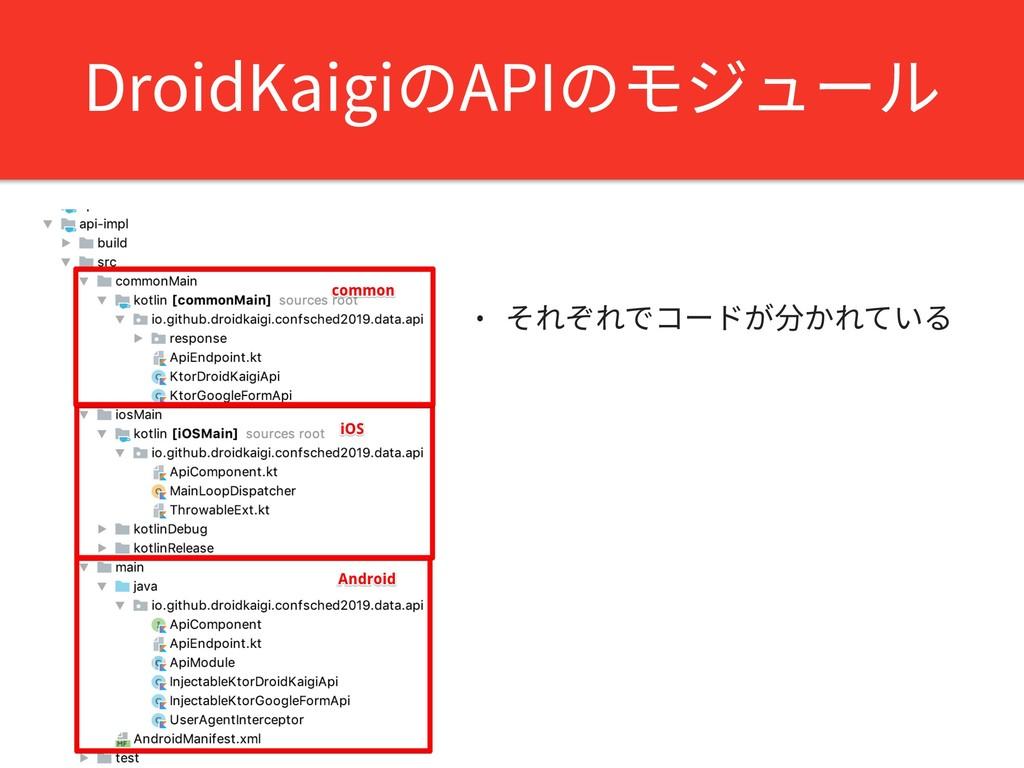 DroidKaigiのAPIのモジュール • それぞれでコードが分かれている