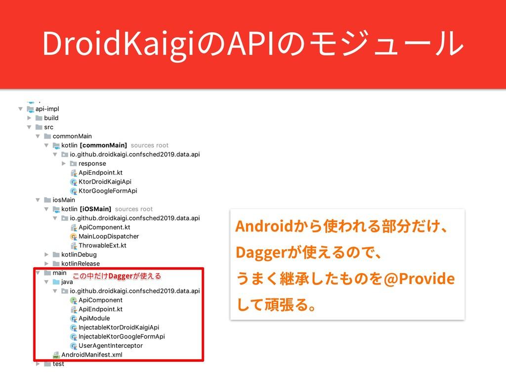 DroidKaigiのAPIのモジュール Androidから使われる部分だけ、 Daggerが...