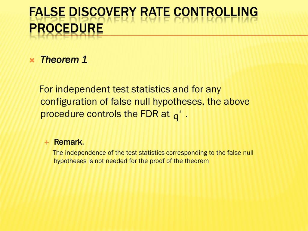 FALSE DISCOVERY RATE CONTROLLING PROCEDURE  Th...