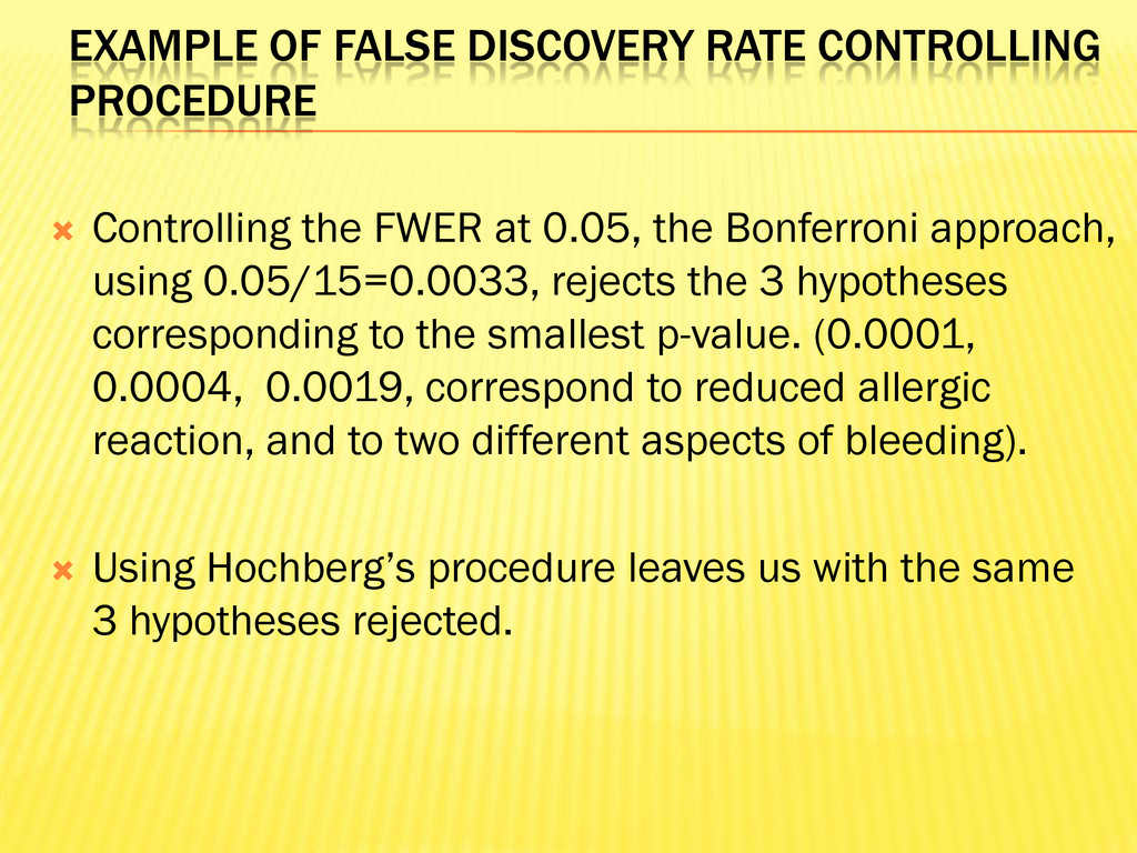 EXAMPLE OF FALSE DISCOVERY RATE CONTROLLING PRO...