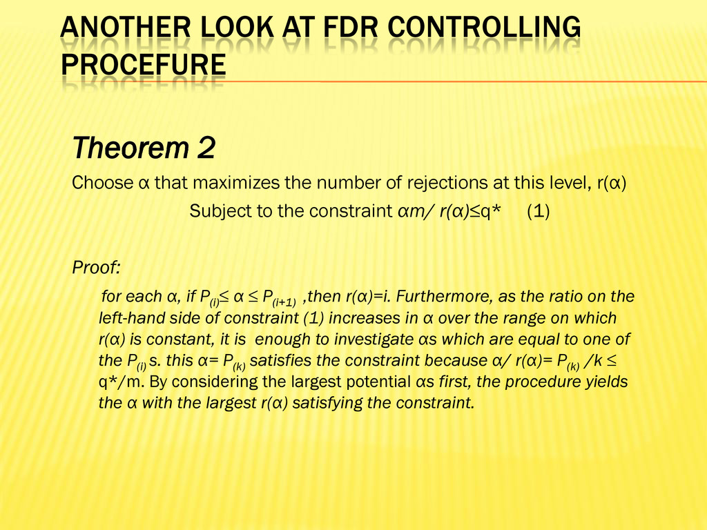 ANOTHER LOOK AT FDR CONTROLLING PROCEFURE Theor...
