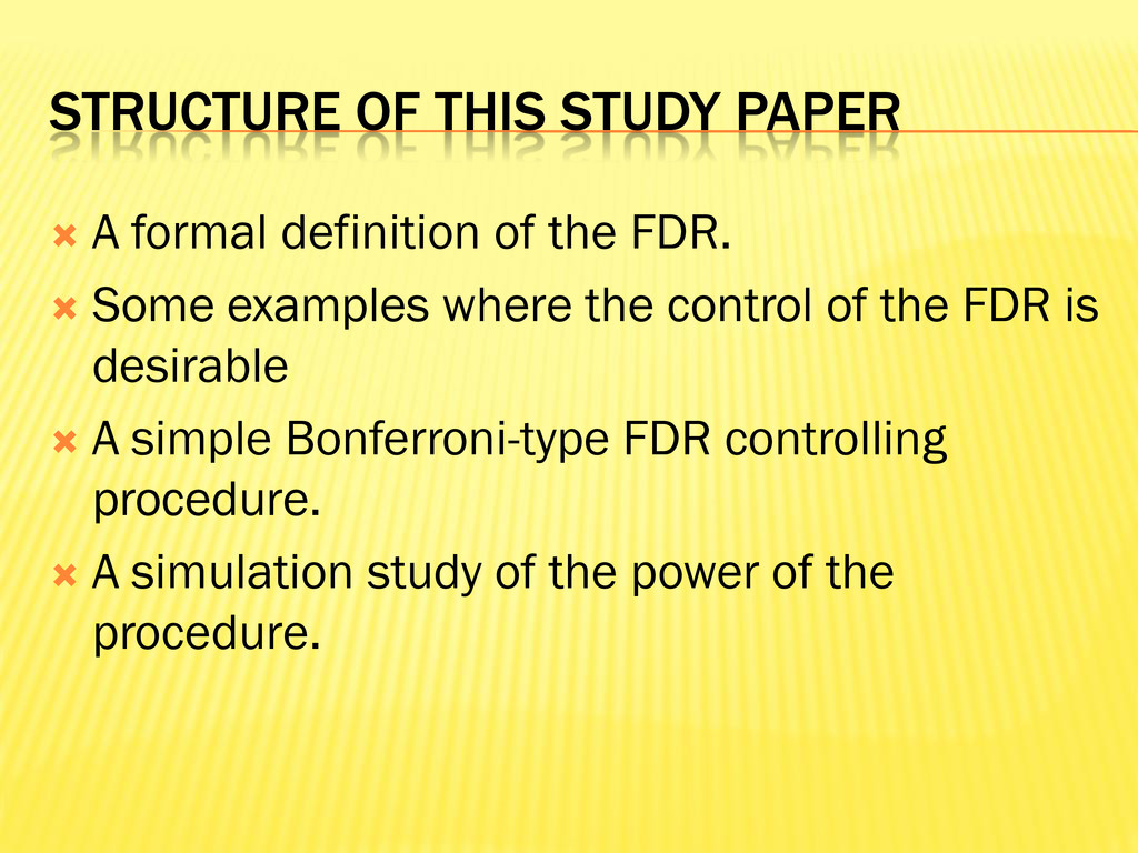 STRUCTURE OF THIS STUDY PAPER  A formal defini...
