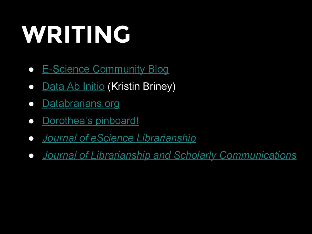 WRITING ● E-Science Community Blog ● Data Ab In...