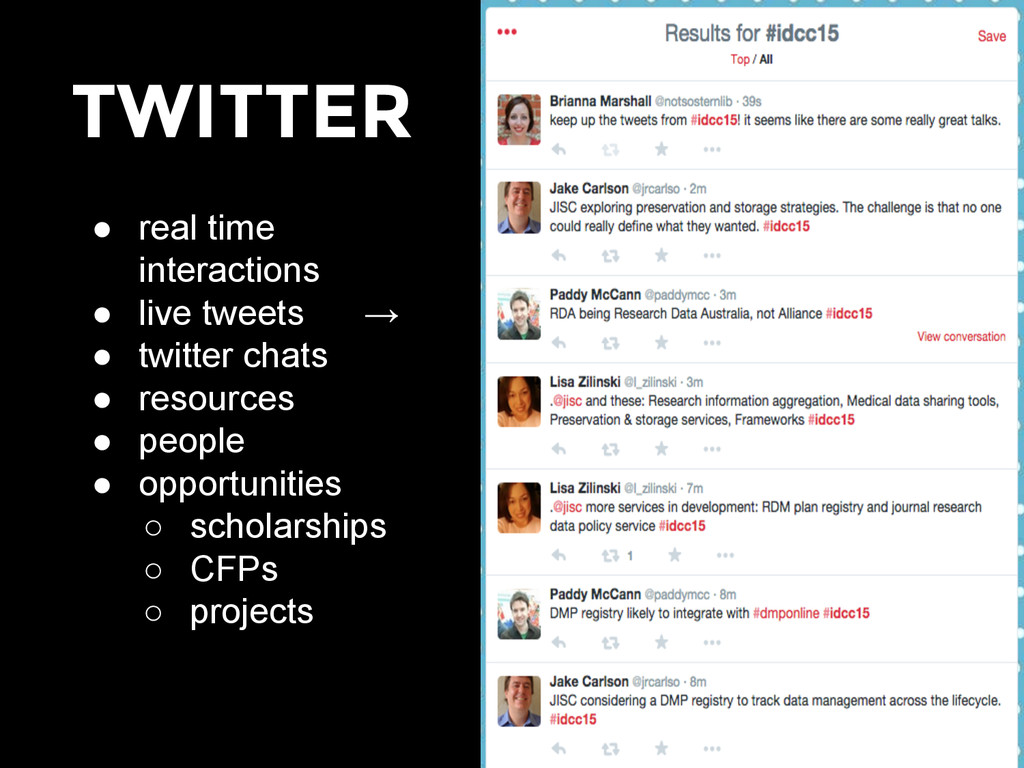 TWITTER ● real time interactions ● live tweets ...