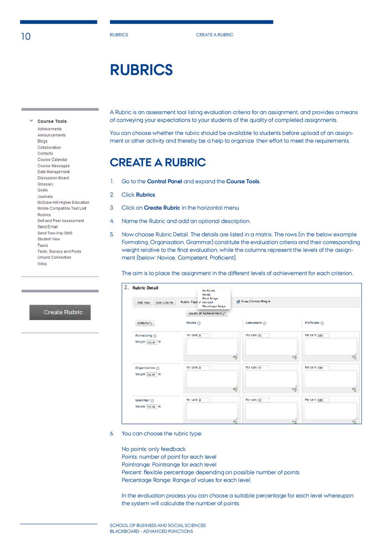 10 Rubrics Create a rubric School of BUSINESS A...