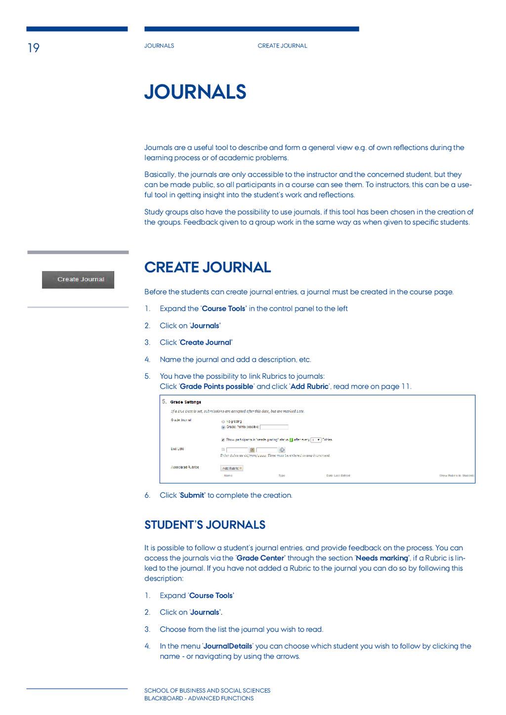 19 Journals Create journal School of BUSINESS A...