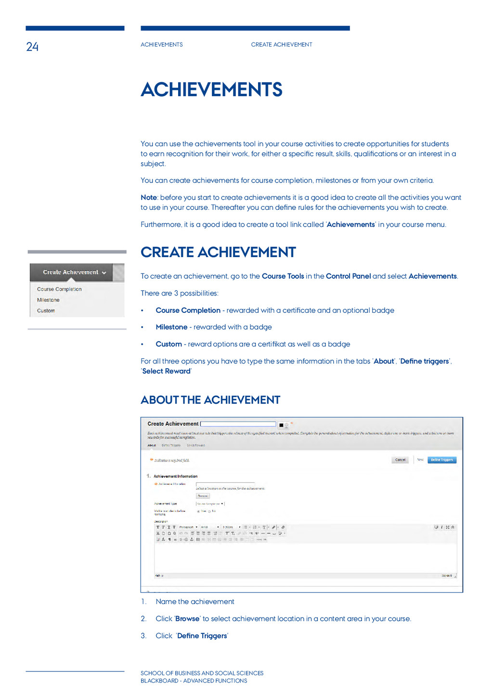 24 Achievements Create achievement School of BU...