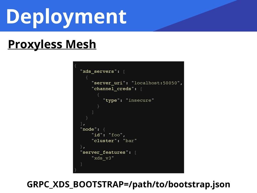 "Deployment Proxyless Mesh { ""xds_servers"": [ { ..."