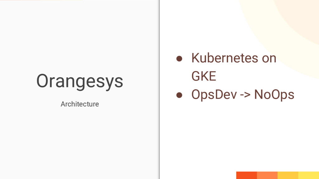 Orangesys ● Kubernetes on GKE ● OpsDev -> NoOps...