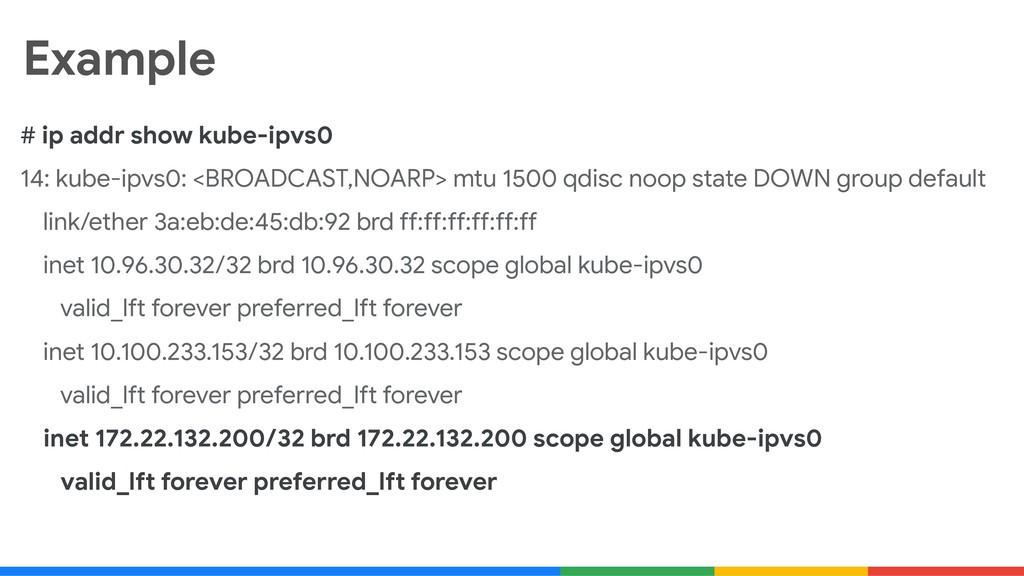 Example # ip addr show kube-ipvs0  14: kube-ipv...