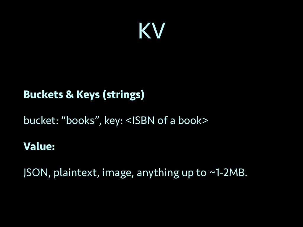 "KV Buckets & Keys (strings) bucket: ""books"", ke..."