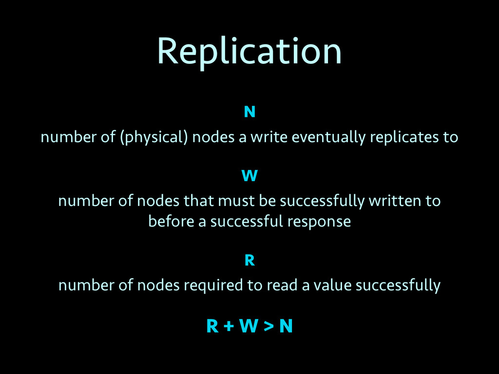 Replication N number of (physical) nodes a writ...