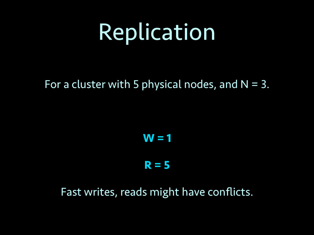 Replication For a cluster with 5 physical nodes...