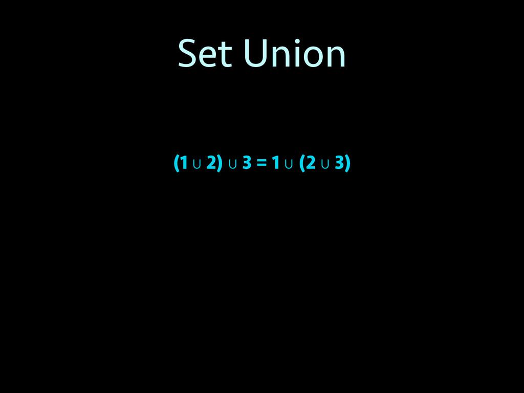 Set Union (1 ∪ 2) ∪ 3 = 1 ∪ (2 ∪ 3)