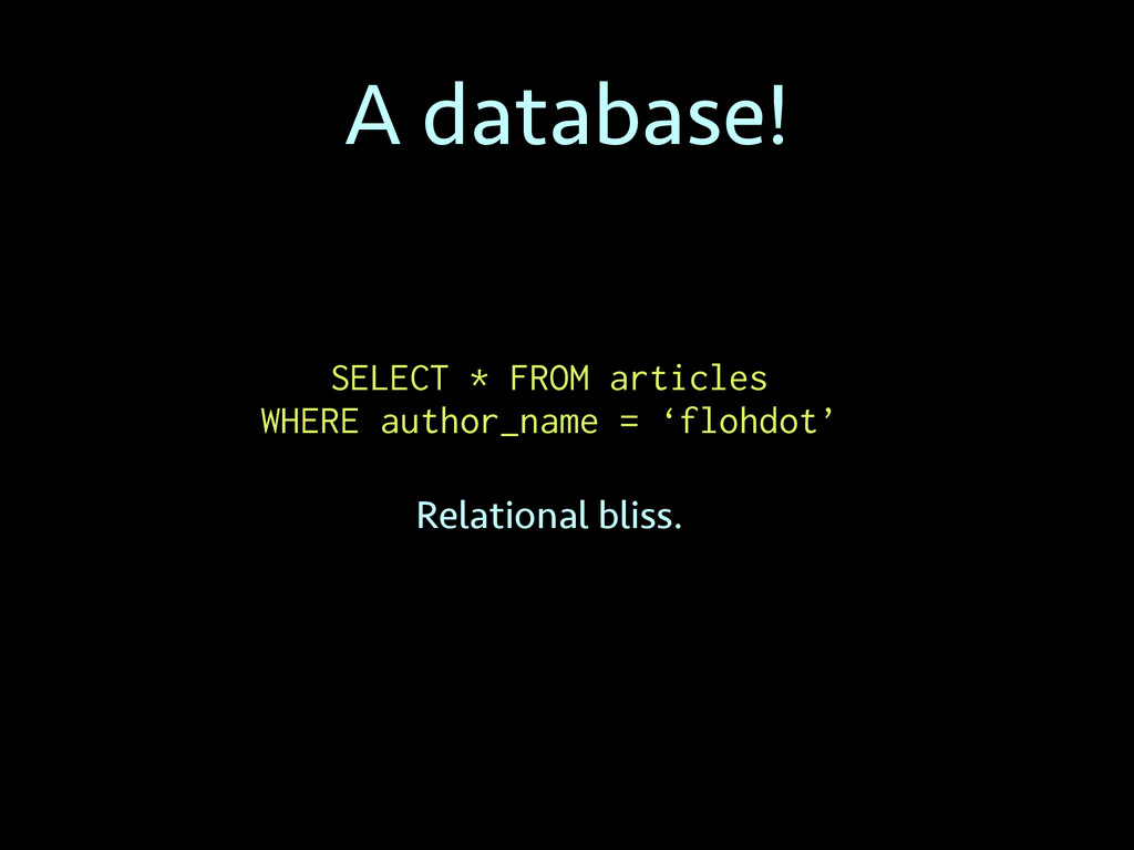 A database! SELECT * FROM articles WHERE author...