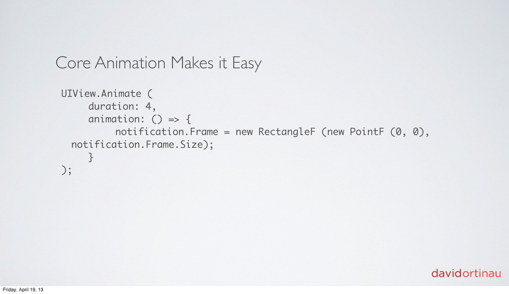 Core Animation Makes it Easy UIView.Animate ( d...