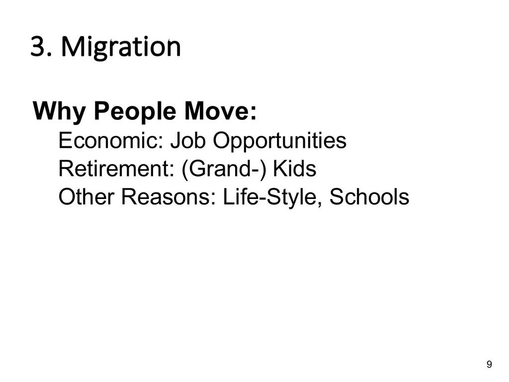 3. Migration Why People Move: Economic: Job Opp...
