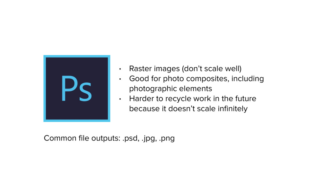 • Raster images (don't scale well) • Good for p...