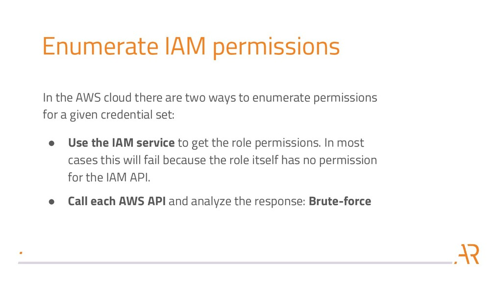 Enumerate IAM permissions In the AWS cloud ther...