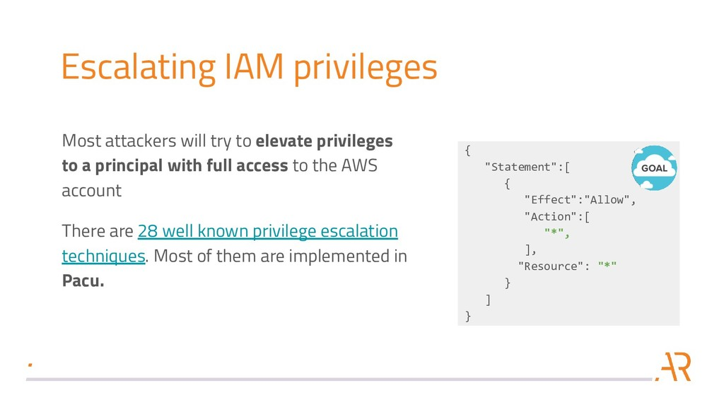 Escalating IAM privileges Most attackers will t...