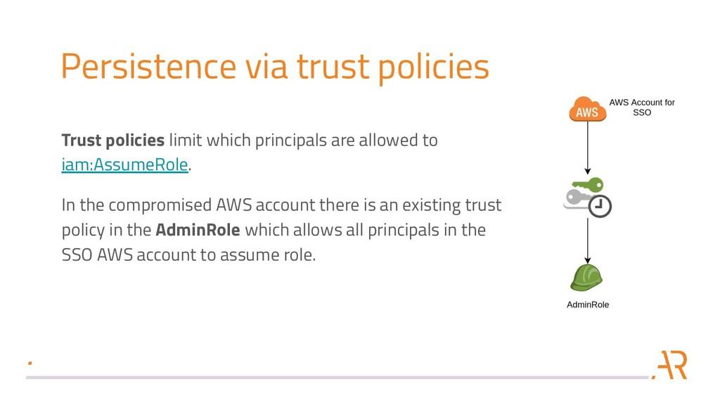 Persistence via trust policies Trust policies l...