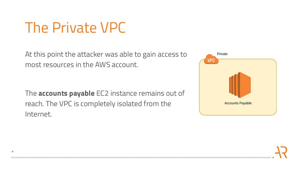 The Private VPC At this point the attacker was ...