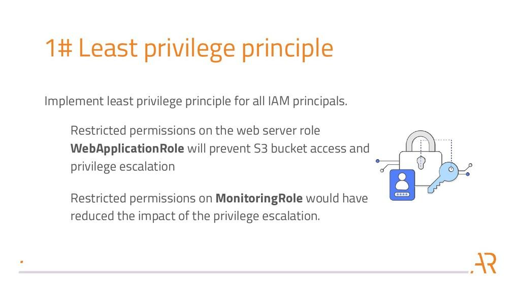 1# Least privilege principle Implement least pr...