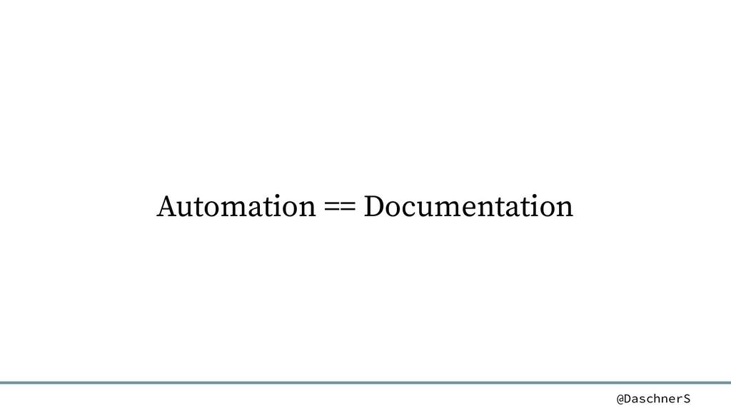 @DaschnerS Automation == Documentation