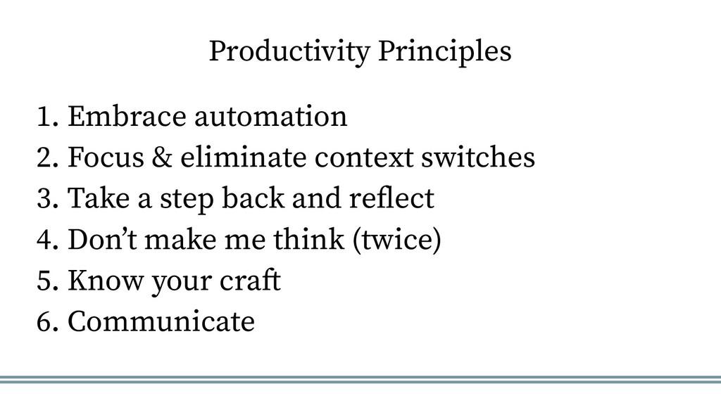 Productivity Principles 1. Embrace automation 2...