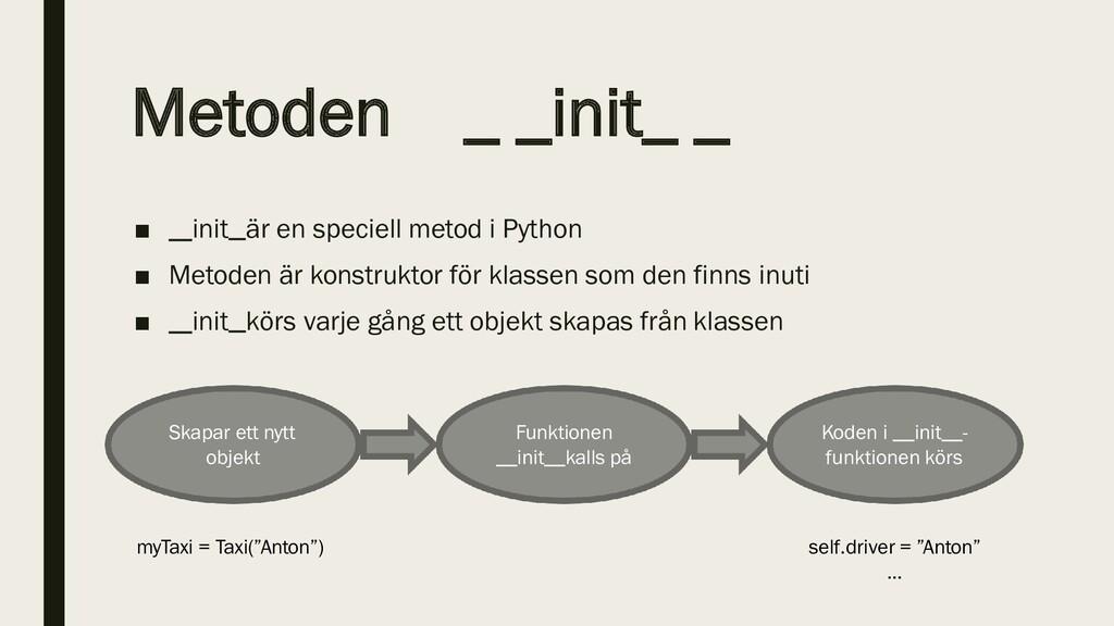 Metoden _ _init_ _ ■ init är en speciell metod ...