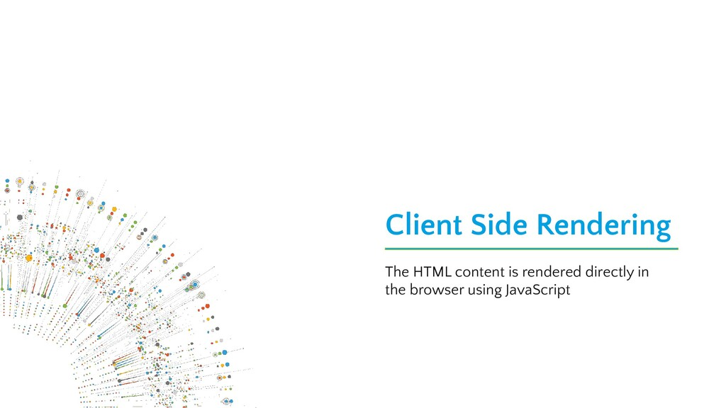 Client Side Rendering The HTML content is rende...