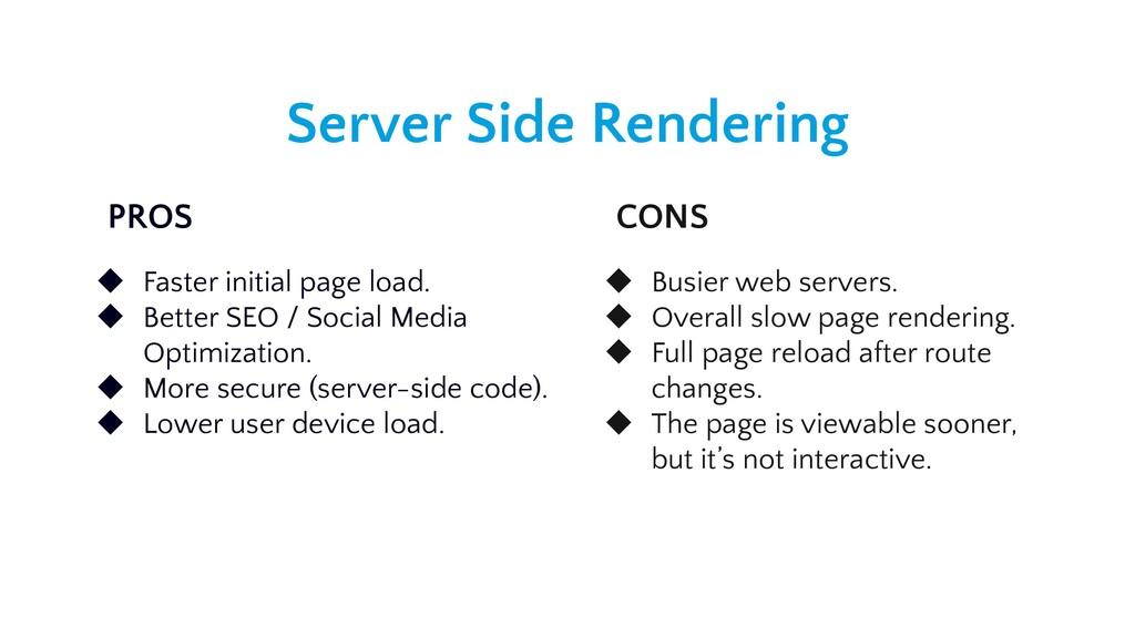 Server Side Rendering PROS CONS ◆ Faster initia...