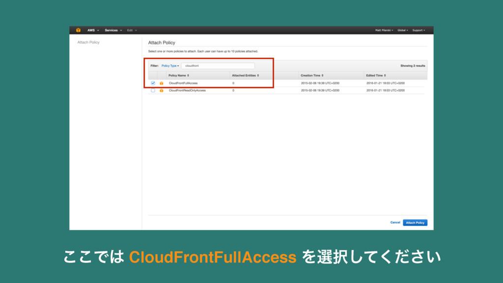 ͜͜Ͱ CloudFrontFullAccess Λબ͍ͯͩ͘͠͞