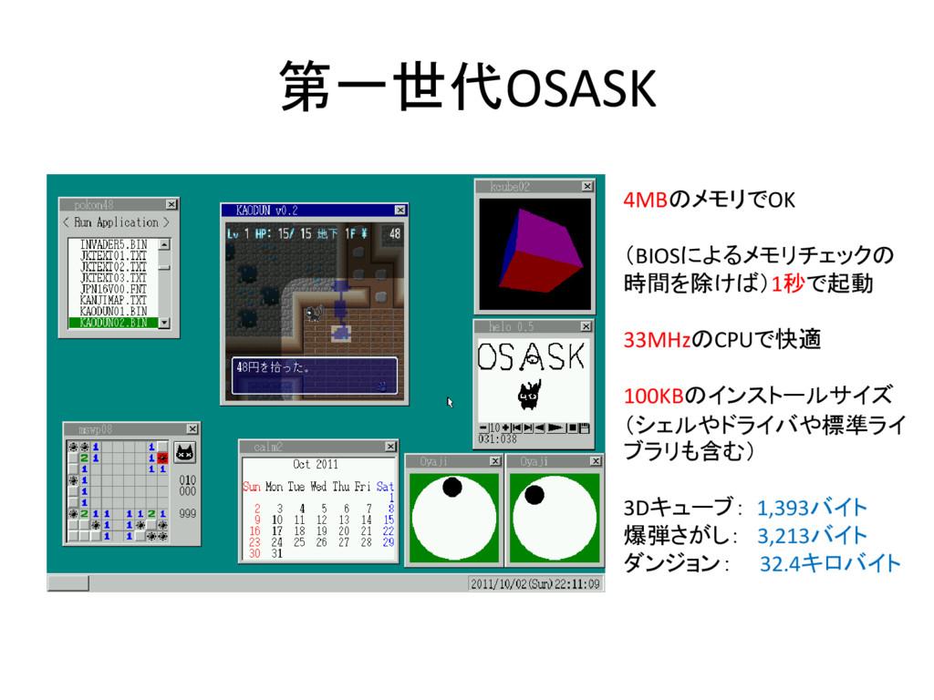 第一世代OSASK 4MBのメモリでOK (BIOSによるメモリチェックの 時間を除けば)1秒...