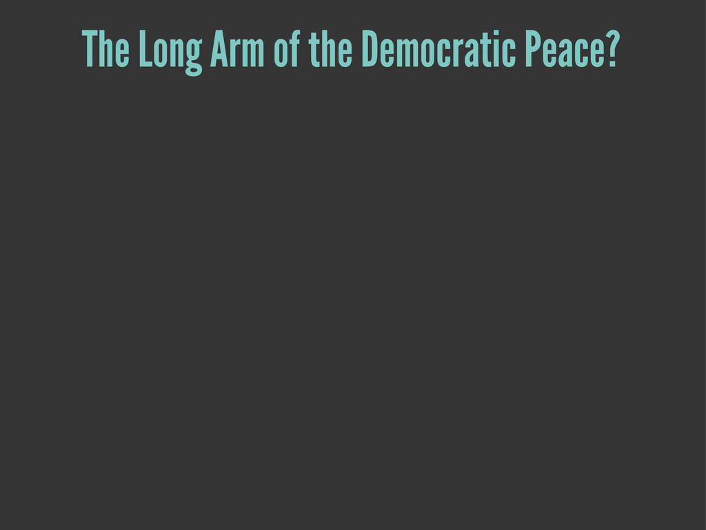 The Long Arm of the Democratic Peace?