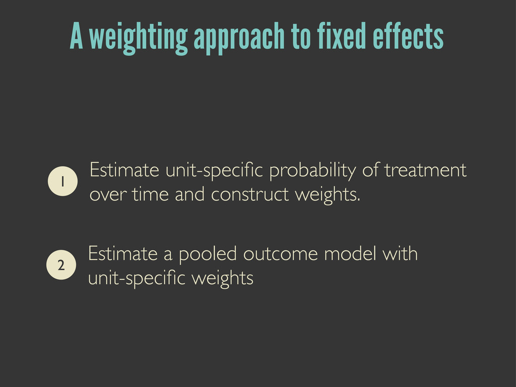 A weighting approach to fixed effects 1 Estimat...