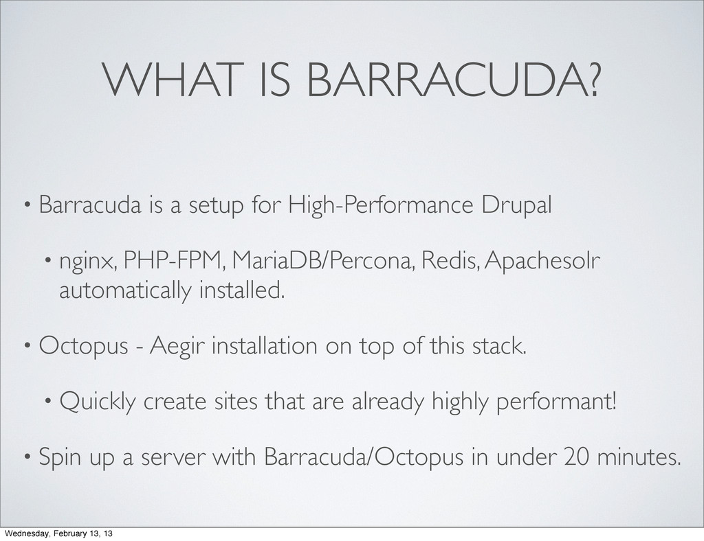 WHAT IS BARRACUDA? • Barracuda is a setup for H...