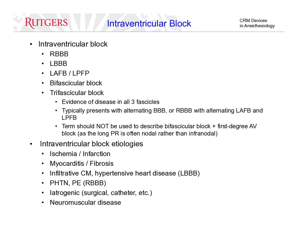 CRM Devices in Anesthesiology Intraventricular ...
