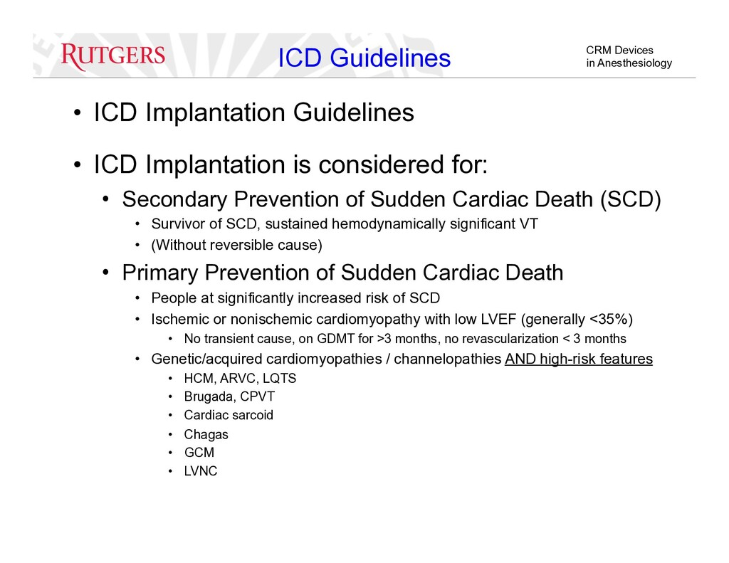 CRM Devices in Anesthesiology ICD Guidelines • ...