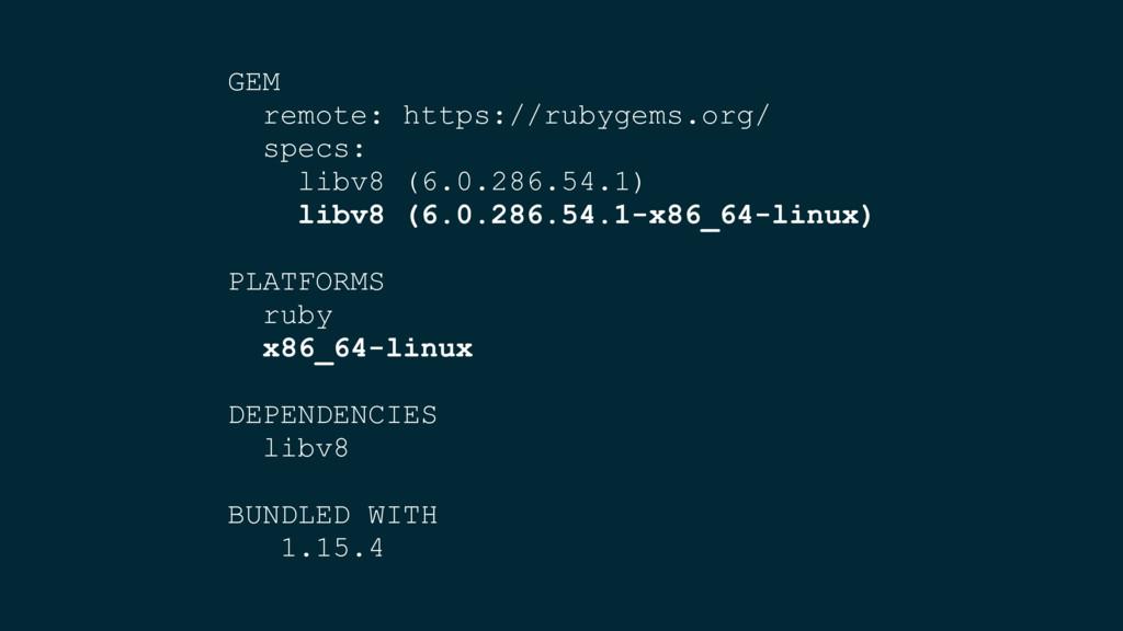 GEM remote: https://rubygems.org/ specs: libv8 ...