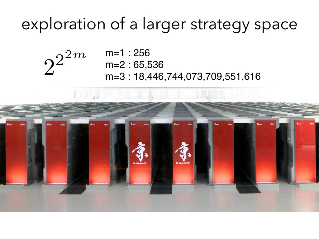 exploration of a larger strategy space m=1 : 25...