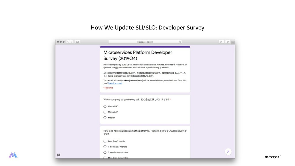 How We Update SLI/SLO: Developer Survey