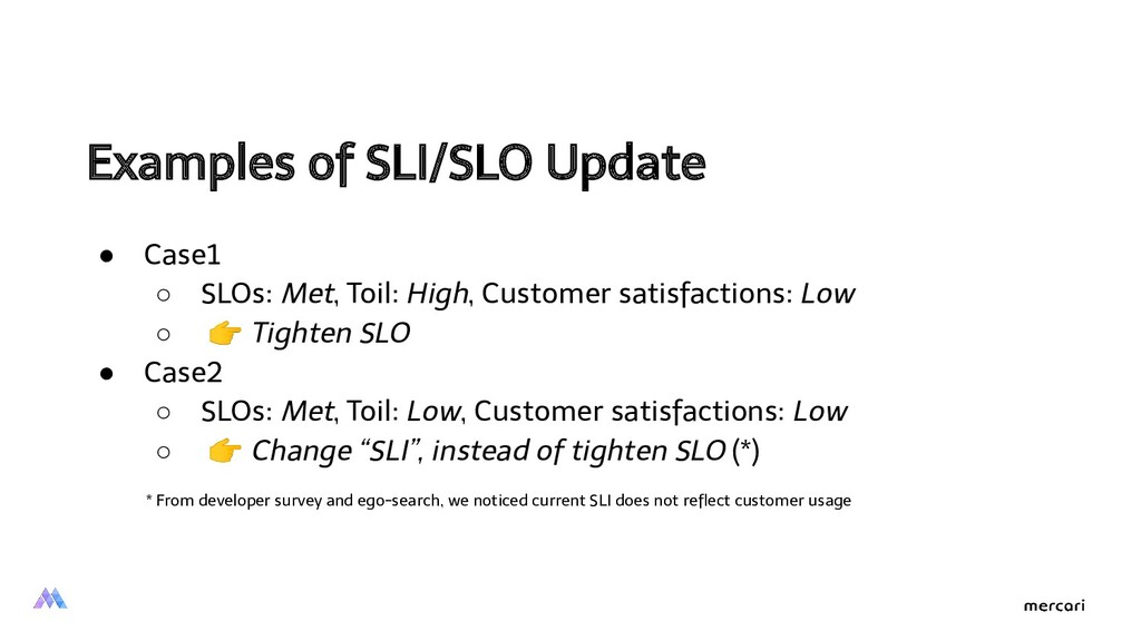 Examples of SLI/SLO Update