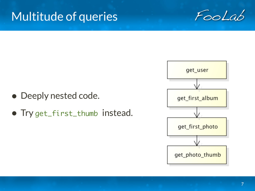 Multitude of queries • Deeply nested code. • Tr...