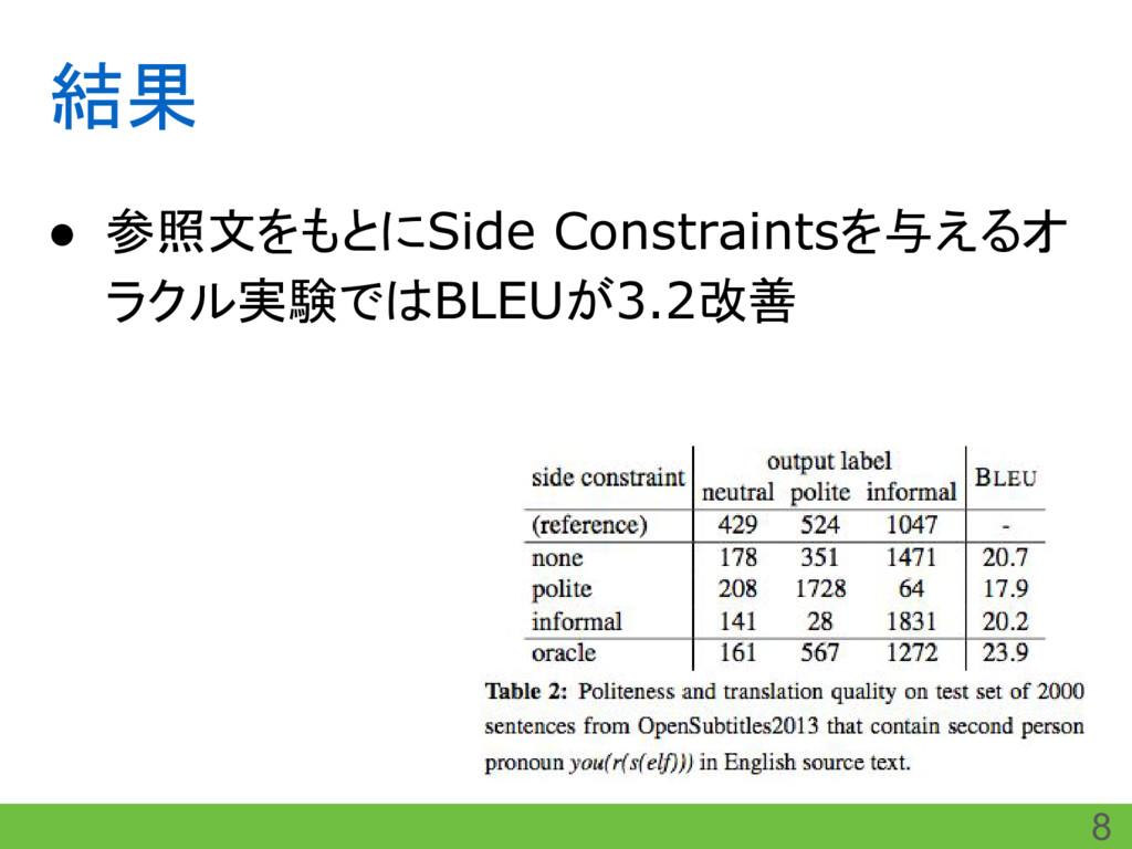結果 ● 参照文をもとにSide Constraintsを与えるオ ラクル実験ではBLEUが3...
