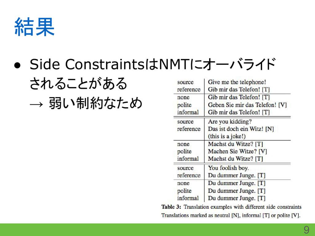 結果 ● Side ConstraintsはNMTにオーバライド されることがある → 弱い制...